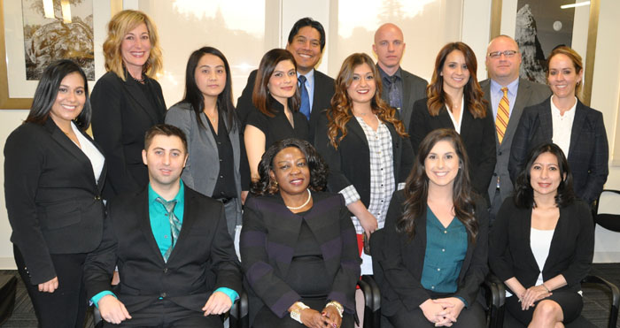 SJCL Barpassers admitted to the Bar on December 7, 2016 include (Front Row. L to R): Andrew Trippel, Chineme Anyadiegwu, Jennifer Oleksa, and Sandra Garcia.  (Back Row):  Victoria Maga, Nichola Krebsbach, Mao Lee, Sara Santoyo, Joshua Longoria, Nellie Peloian, Matthew Green, Michelle Errecart, William Chaddock, and Amanda Hines.  Photo Courtesy of Howard K. Watkins.